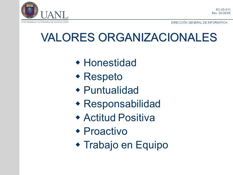 DIRECCIÓN GENERAL DE INFORMÁTICA RC-05-011 Rev. 00-09/05 VALORES ORGANIZACIONALES Honestidad Respeto Puntualidad Responsabilidad Actitud Positiva Proa