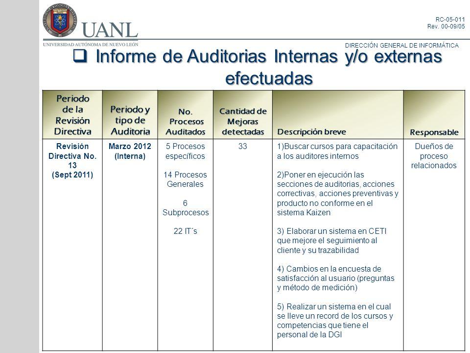 DIRECCIÓN GENERAL DE INFORMÁTICA RC-05-011 Rev. 00-09/05 Periodo de la Revisión Directiva Periodo y tipo de Auditoria No. Procesos Auditados Procesos
