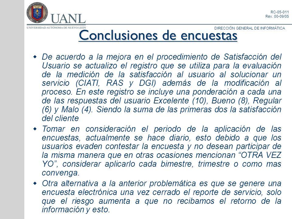 DIRECCIÓN GENERAL DE INFORMÁTICA RC-05-011 Rev. 00-09/05 Conclusiones de encuestas De acuerdo a la mejora en el procedimiento de Satisfacción del Usua