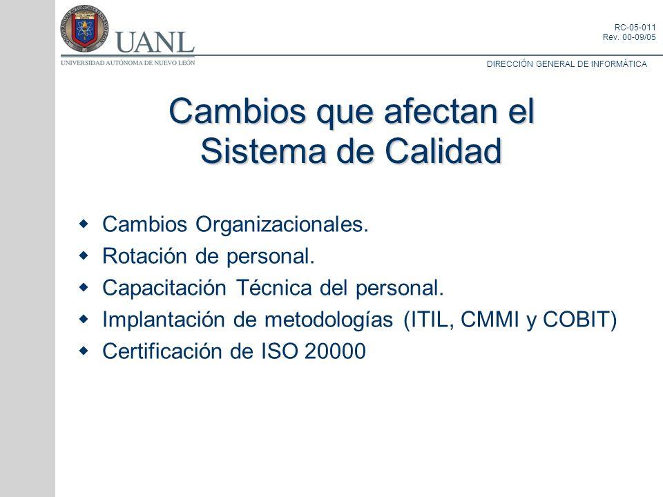 DIRECCIÓN GENERAL DE INFORMÁTICA RC-05-011 Rev. 00-09/05 Cambios Organizacionales. Rotación de personal. Capacitación Técnica del personal. Implantaci