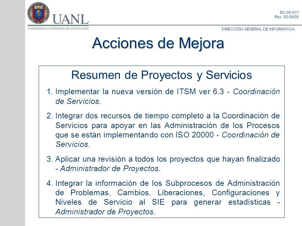 DIRECCIÓN GENERAL DE INFORMÁTICA RC-05-011 Rev. 00-09/05 Resumen de Proyectos y Servicios 1.Implementar la nueva versión de ITSM ver 6.3 - Coordinació