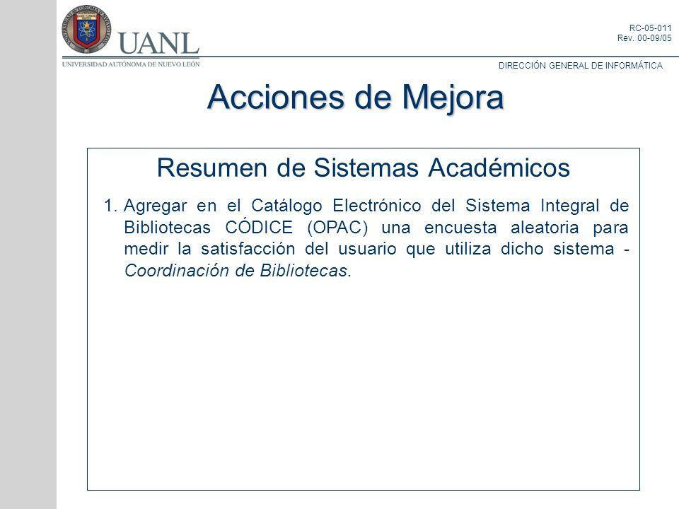 DIRECCIÓN GENERAL DE INFORMÁTICA RC-05-011 Rev. 00-09/05 Resumen de Sistemas Académicos 1.Agregar en el Catálogo Electrónico del Sistema Integral de B