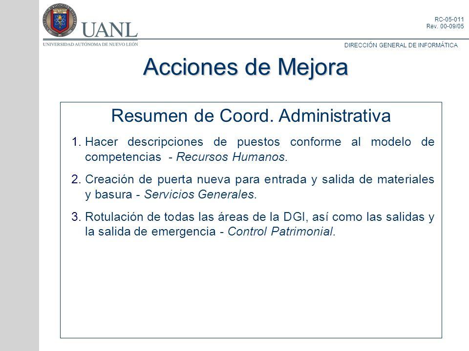 DIRECCIÓN GENERAL DE INFORMÁTICA RC-05-011 Rev. 00-09/05 Resumen de Coord. Administrativa Hacer descripciones de puestos conforme al modelo de compete