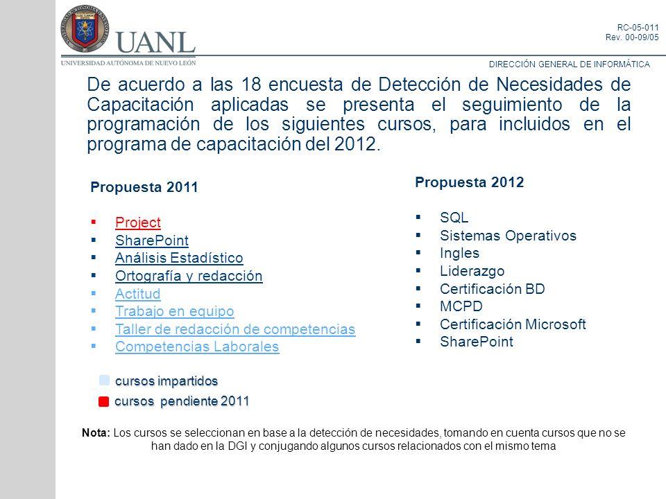 DIRECCIÓN GENERAL DE INFORMÁTICA RC-05-011 Rev. 00-09/05 De acuerdo a las 18 encuesta de Detección de Necesidades de Capacitación aplicadas se present