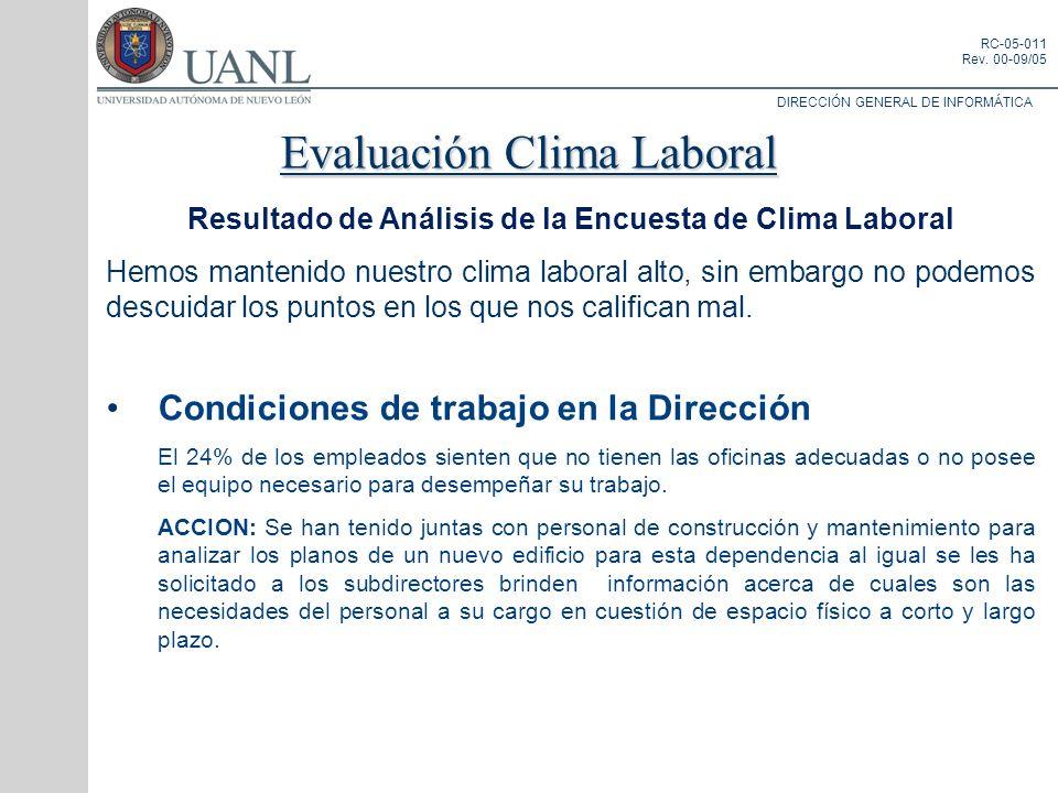 DIRECCIÓN GENERAL DE INFORMÁTICA RC-05-011 Rev. 00-09/05 Resultado de Análisis de la Encuesta de Clima Laboral Hemos mantenido nuestro clima laboral a