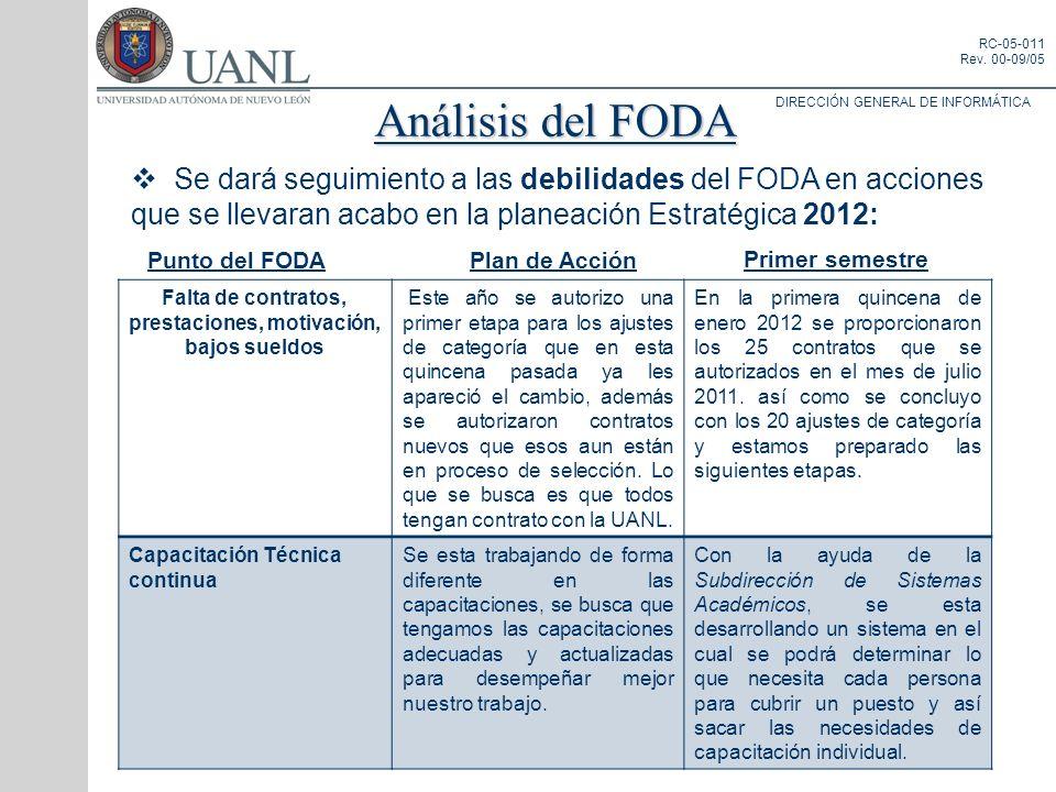 DIRECCIÓN GENERAL DE INFORMÁTICA RC-05-011 Rev. 00-09/05 Análisis del FODA Se dará seguimiento a las debilidades del FODA en acciones que se llevaran