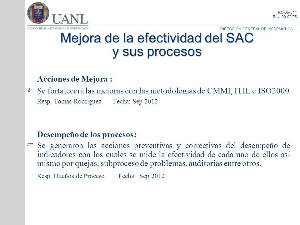 DIRECCIÓN GENERAL DE INFORMÁTICA RC-05-011 Rev. 00-09/05 Acciones de Mejora : Se fortalecerá las mejoras con las metodologías de CMMI, ITIL e ISO2000