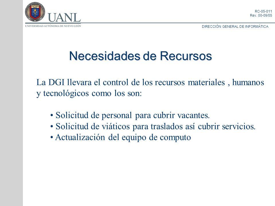 DIRECCIÓN GENERAL DE INFORMÁTICA RC-05-011 Rev. 00-09/05 Necesidades de Recursos La DGI llevara el control de los recursos materiales, humanos y tecno