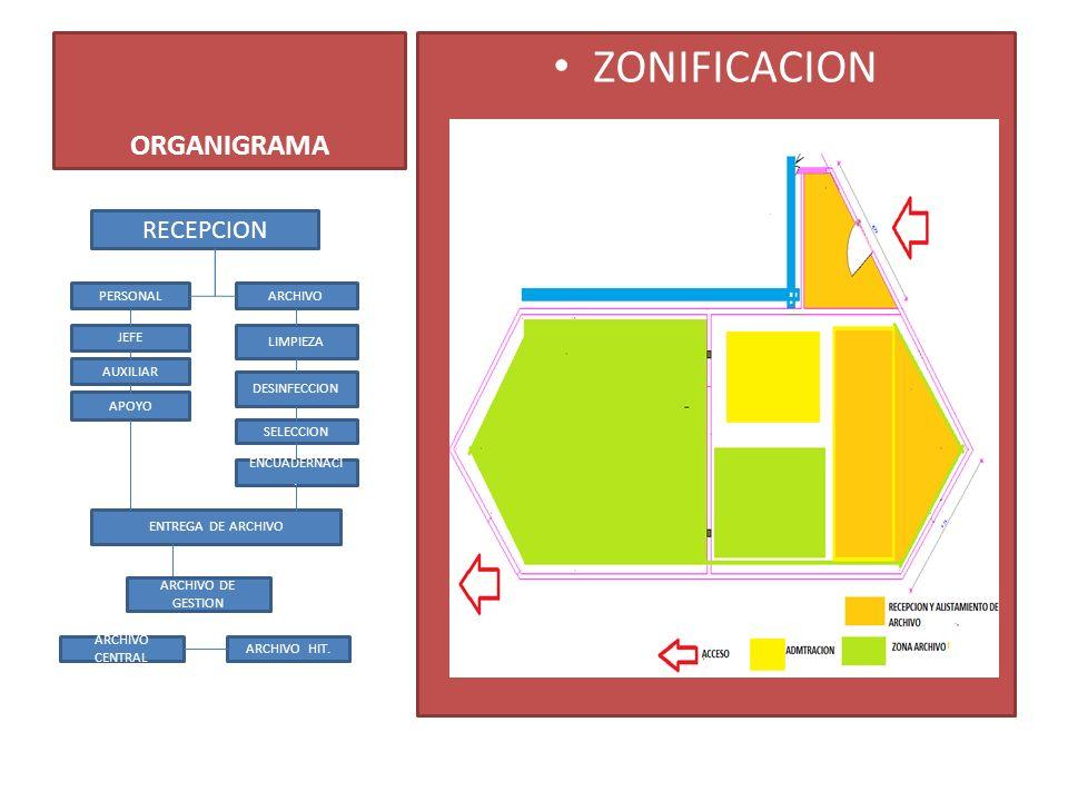 ORGANIGRAMA ZONIFICACION RECEPCION PERSONALARCHIVO JEFE AUXILIAR APOYO LIMPIEZA DESINFECCION SELECCION ENCUADERNACI. ENTREGA DE ARCHIVO ARCHIVO CENTRA