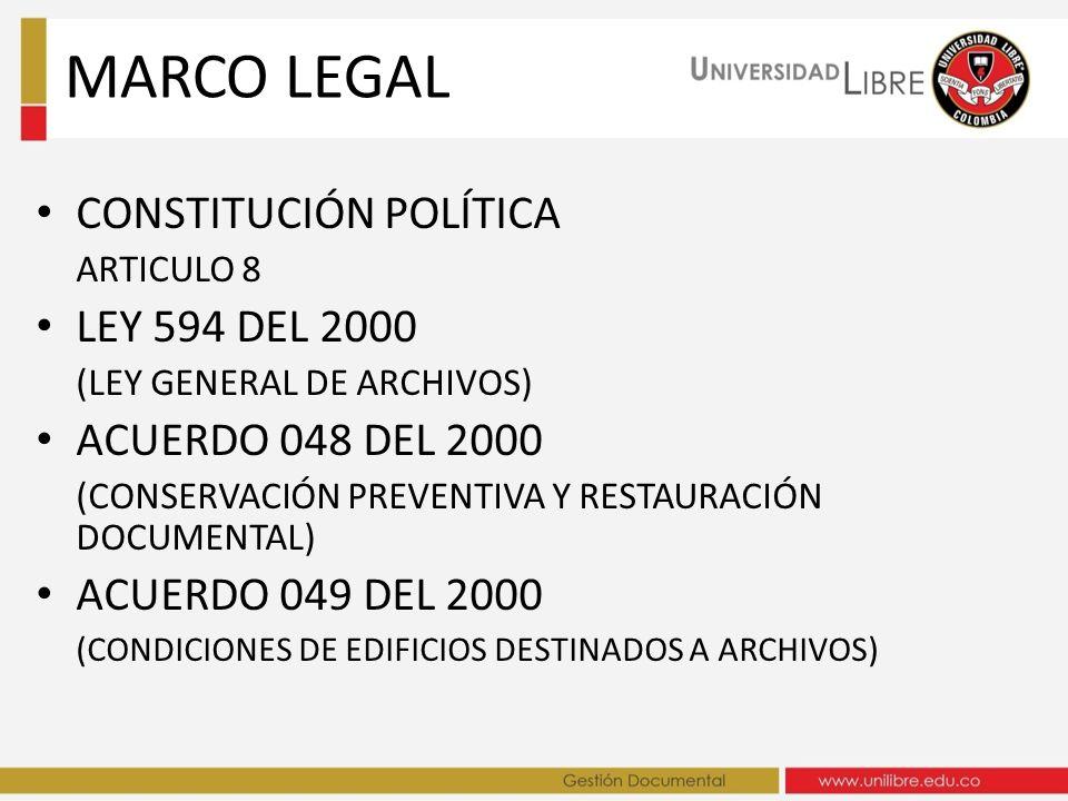 CONSTITUCIÓN POLÍTICA ARTICULO 8 LEY 594 DEL 2000 (LEY GENERAL DE ARCHIVOS) ACUERDO 048 DEL 2000 (CONSERVACIÓN PREVENTIVA Y RESTAURACIÓN DOCUMENTAL) A