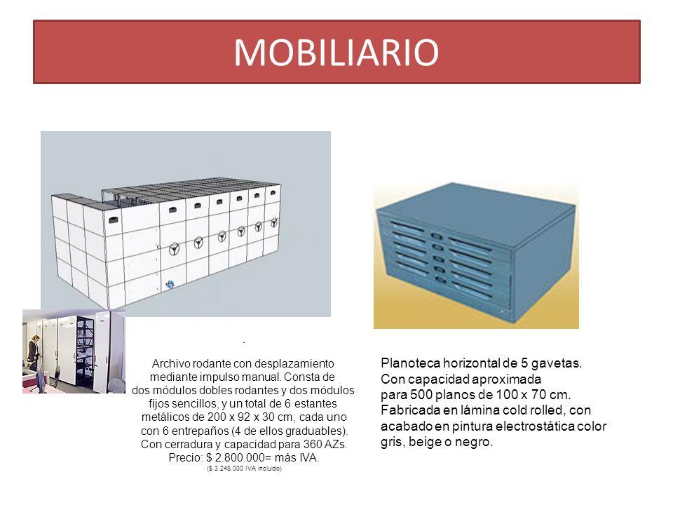 MOBILIARIO Archivo rodante con desplazamiento mediante impulso manual. Consta de dos módulos dobles rodantes y dos módulos fijos sencillos, y un total