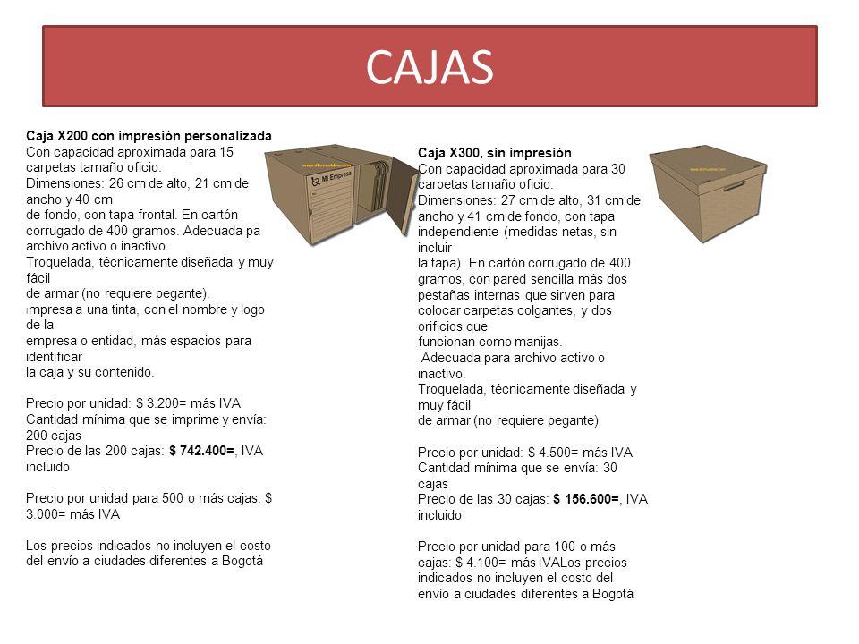 CAJAS Caja X200 con impresión personalizada Con capacidad aproximada para 15 carpetas tamaño oficio. Dimensiones: 26 cm de alto, 21 cm de ancho y 40 c