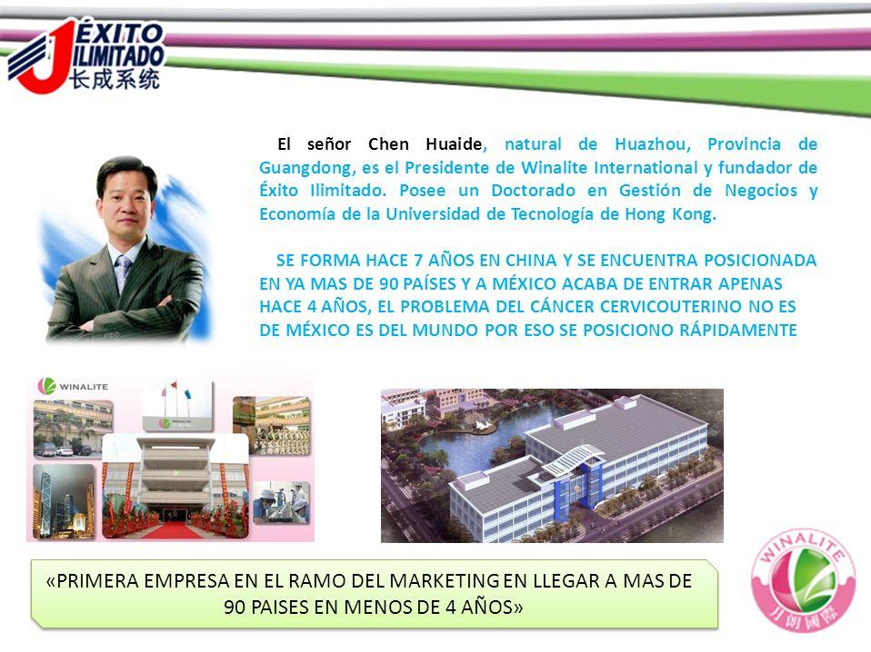 El señor Chen Huaide, natural de Huazhou, Provincia de Guangdong, es el Presidente de Winalite International y fundador de Éxito Ilimitado. Posee un D