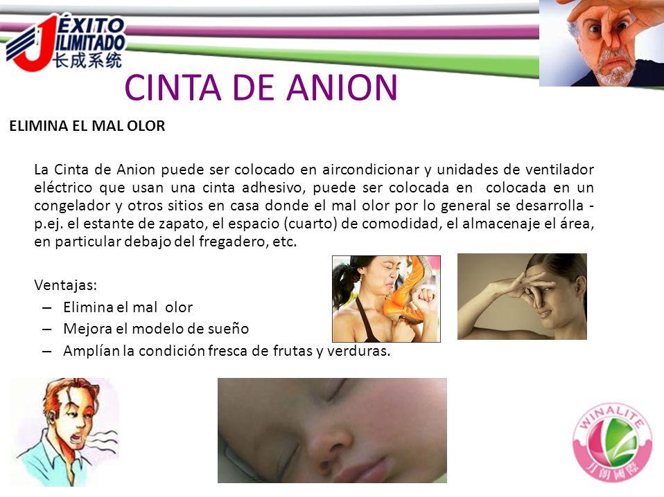 CINTA DE ANION ELIMINA EL MAL OLOR La Cinta de Anion puede ser colocado en aircondicionar y unidades de ventilador eléctrico que usan una cinta adhesi