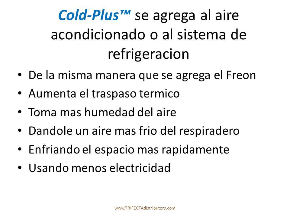 Cold-Plus se agrega al aire acondicionado o al sistema de refrigeracion De la misma manera que se agrega el Freon Aumenta el traspaso termico Toma mas humedad del aire Dandole un aire mas frio del respiradero Enfriando el espacio mas rapidamente Usando menos electricidad www.TRIFECTAdistributors.com