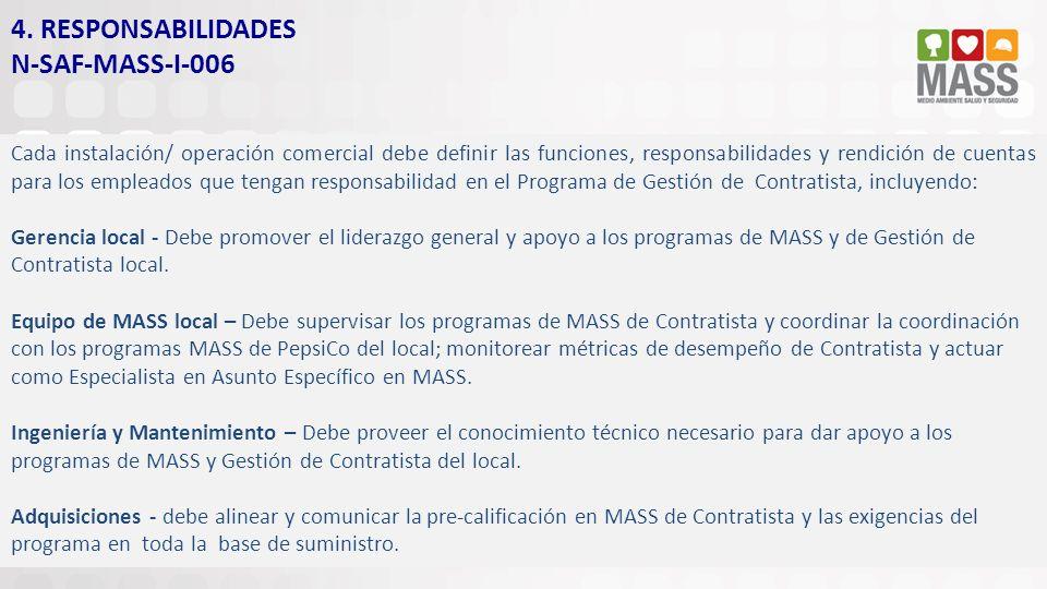 4. RESPONSABILIDADES N-SAF-MASS-I-006 Cada instalación/ operación comercial debe definir las funciones, responsabilidades y rendición de cuentas para