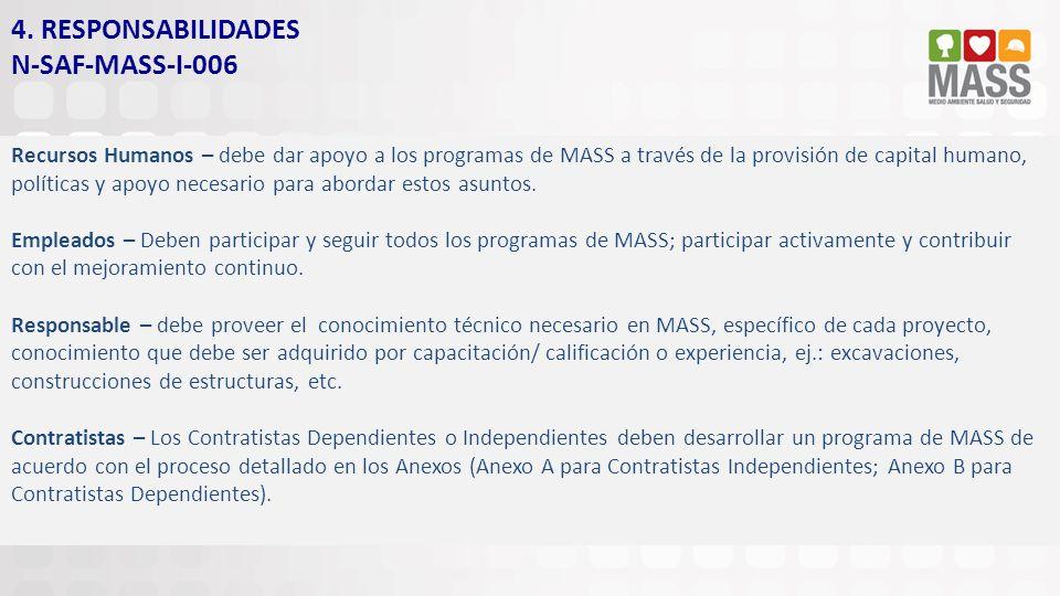 4. RESPONSABILIDADES N-SAF-MASS-I-006 Recursos Humanos – debe dar apoyo a los programas de MASS a través de la provisión de capital humano, políticas