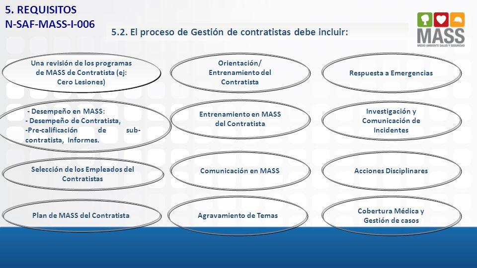 5.2. El proceso de Gestión de contratistas debe incluir: Una revisión de los programas de MASS de Contratista (ej: Cero Lesiones) - Desempeño en MASS: