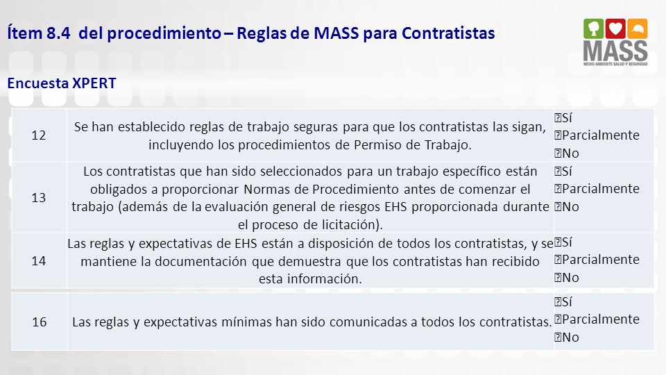Ítem 8.4 del procedimiento – Reglas de MASS para Contratistas Encuesta XPERT 12 Se han establecido reglas de trabajo seguras para que los contratistas