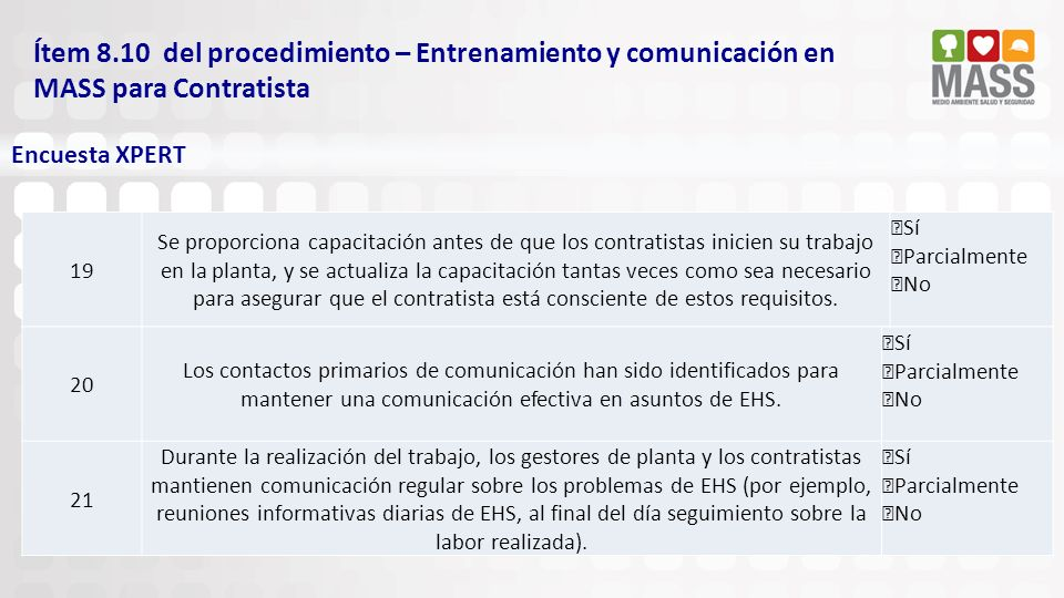 Ítem 8.10 del procedimiento – Entrenamiento y comunicación en MASS para Contratista Encuesta XPERT 20 Los contactos primarios de comunicación han sido