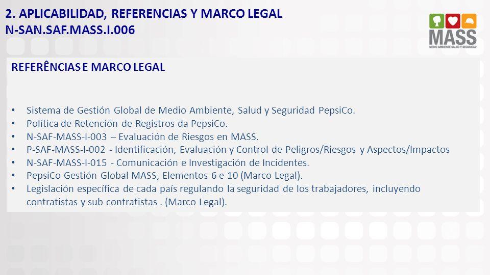 2. APLICABILIDAD, REFERENCIAS Y MARCO LEGAL N-SAN.SAF.MASS.I.006 REFERÊNCIAS E MARCO LEGAL Sistema de Gestión Global de Medio Ambiente, Salud y Seguri