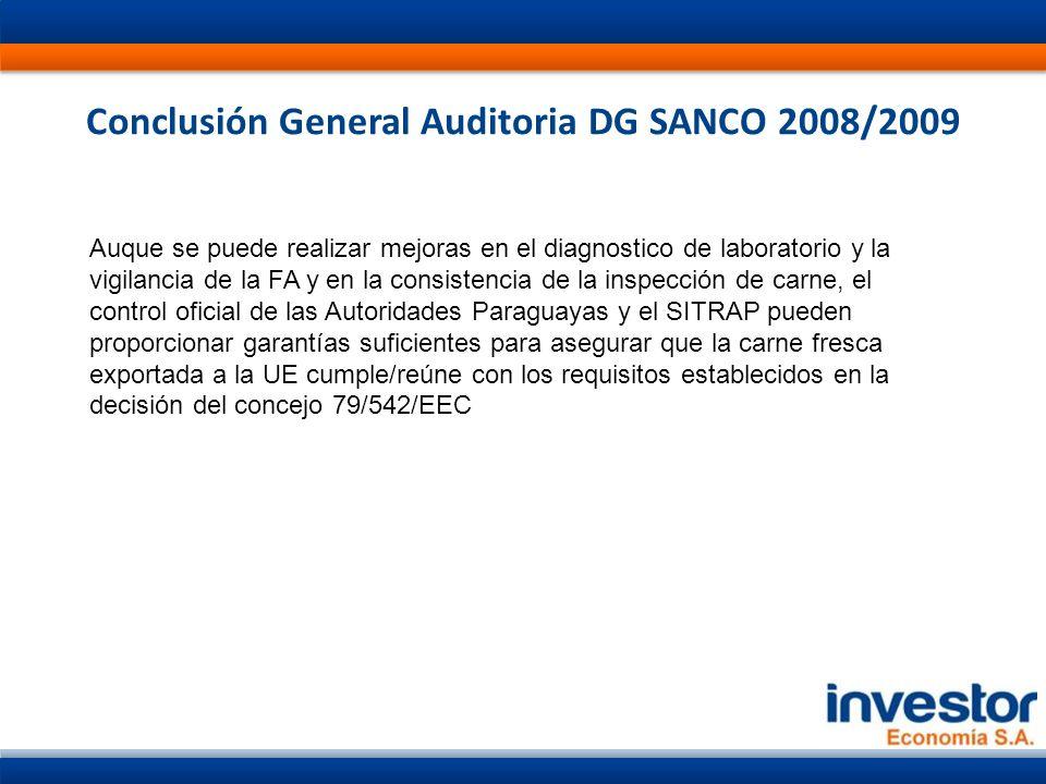Conclusión General Auditoria DG SANCO 2008/2009 Auque se puede realizar mejoras en el diagnostico de laboratorio y la vigilancia de la FA y en la consistencia de la inspección de carne, el control oficial de las Autoridades Paraguayas y el SITRAP pueden proporcionar garantías suficientes para asegurar que la carne fresca exportada a la UE cumple/reúne con los requisitos establecidos en la decisión del concejo 79/542/EEC