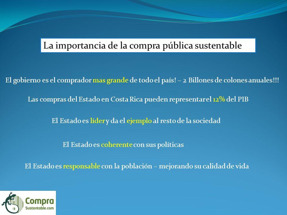 La importancia de la compra pública sustentable El gobierno es el comprador mas grande de todo el país.