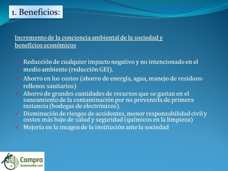 1. Beneficios: Incremento de la conciencia ambiental de la sociedad y beneficios económicos Reducción de cualquier impacto negativo y no intencionado