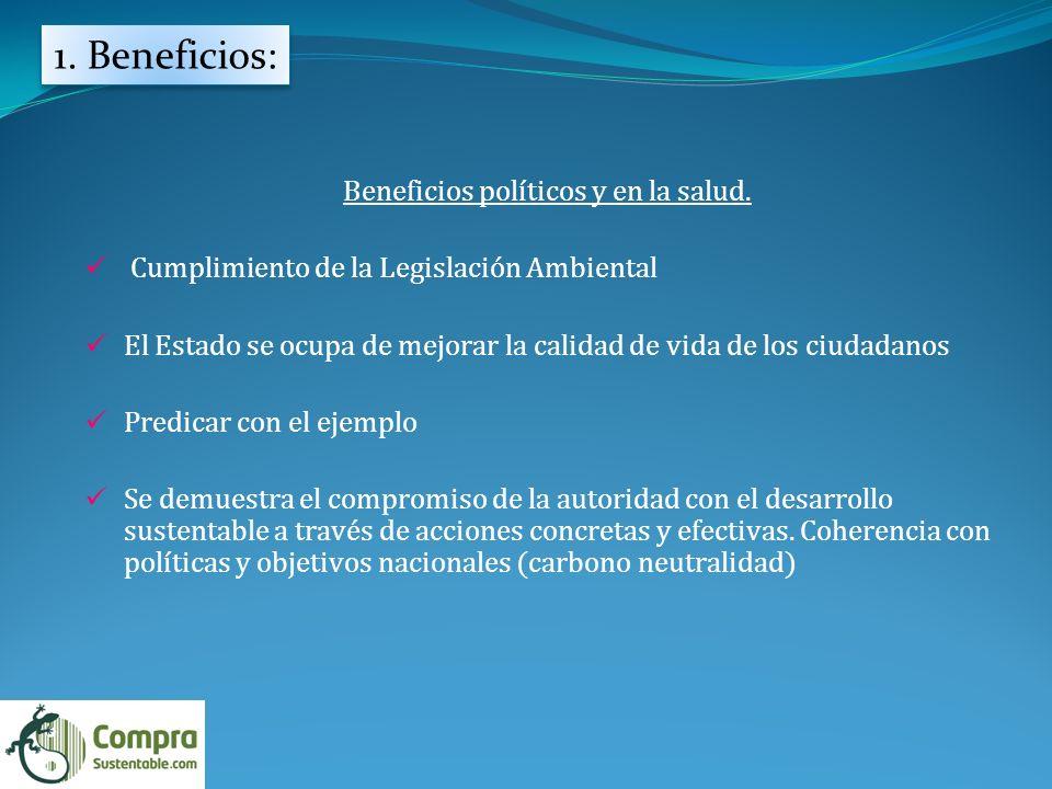 1.Beneficios: Beneficios políticos y en la salud.