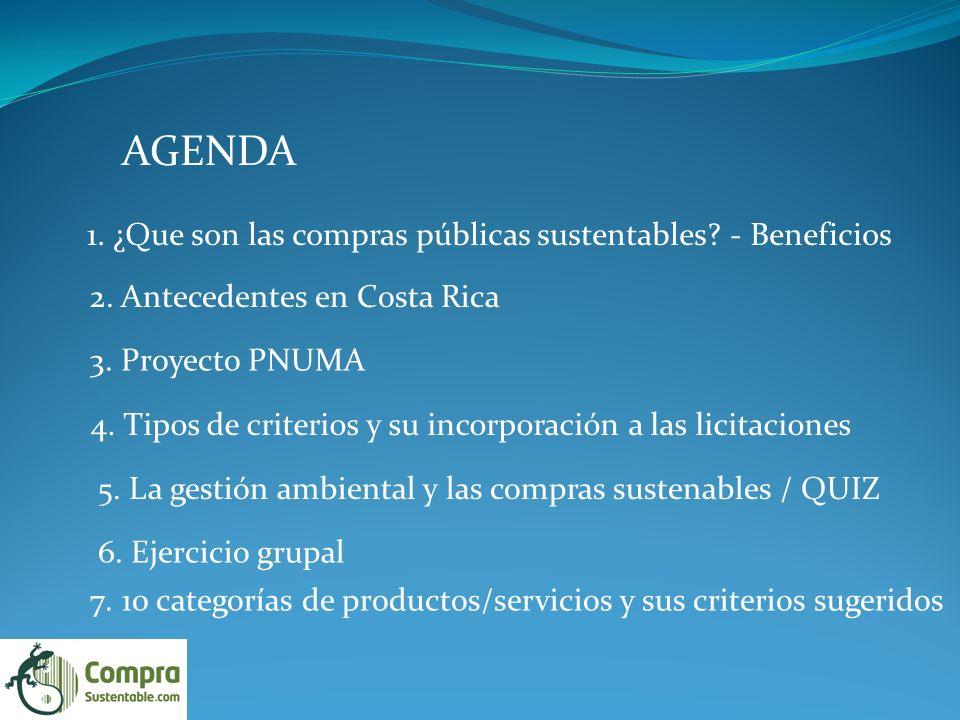 AGENDA 1.¿Que son las compras públicas sustentables.