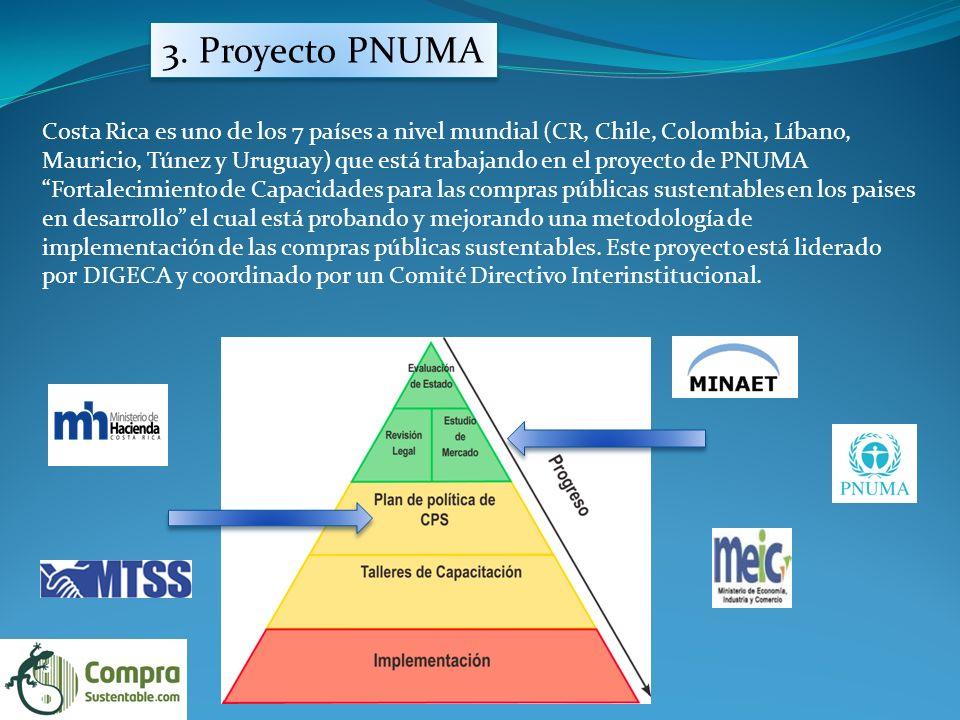 3. Proyecto PNUMA Costa Rica es uno de los 7 países a nivel mundial (CR, Chile, Colombia, Líbano, Mauricio, Túnez y Uruguay) que está trabajando en el