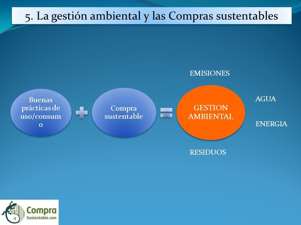 Buenas prácticas de uso/consum o Compra sustentable GESTION AMBIENTAL AGUA ENERGIA RESIDUOS EMISIONES 5.