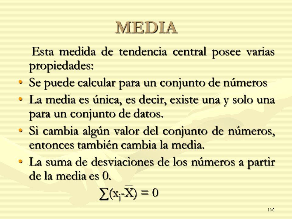 MEDIA Esta medida de tendencia central posee varias propiedades: Esta medida de tendencia central posee varias propiedades: Se puede calcular para un