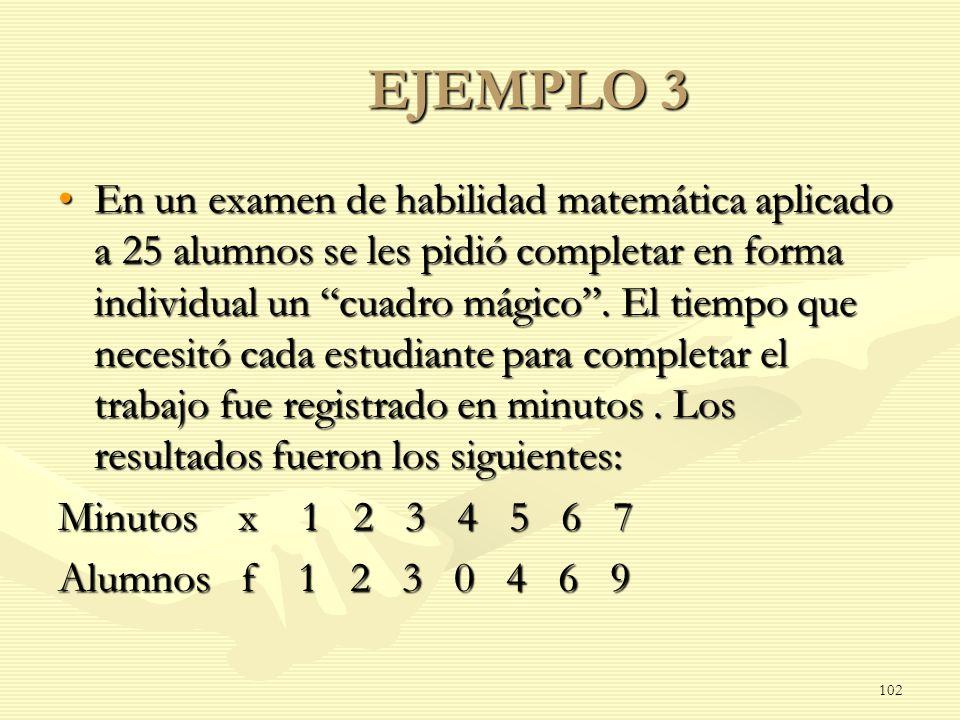 EJEMPLO 3 En un examen de habilidad matemática aplicado a 25 alumnos se les pidió completar en forma individual un cuadro mágico. El tiempo que necesi