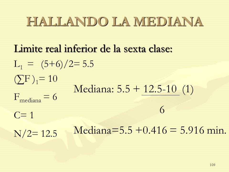 HALLANDO LA MEDIANA Limite real inferior de la sexta clase: L 1 = (5+6)/2= 5.5 (F ) 1 = 10 F mediana = 6 C= 1 N/2= 12.5 Mediana: 5.5 + 12.5-10 (1) 6 M