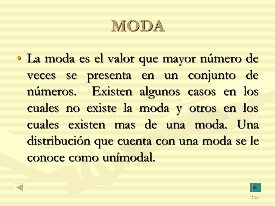 MODA La moda es el valor que mayor número de veces se presenta en un conjunto de números. Existen algunos casos en los cuales no existe la moda y otro