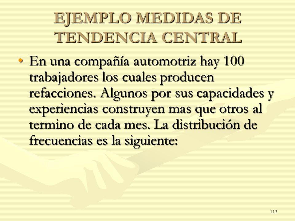 EJEMPLO MEDIDAS DE TENDENCIA CENTRAL En una compañía automotriz hay 100 trabajadores los cuales producen refacciones. Algunos por sus capacidades y ex