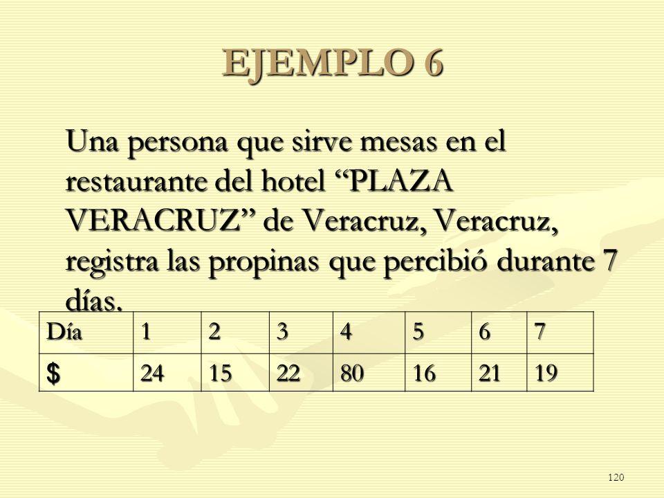 EJEMPLO 6 Una persona que sirve mesas en el restaurante del hotel PLAZA VERACRUZ de Veracruz, Veracruz, registra las propinas que percibió durante 7 d