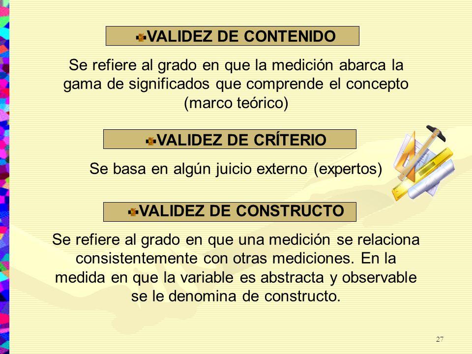 VALIDEZ DE CONTENIDO Se refiere al grado en que la medición abarca la gama de significados que comprende el concepto (marco teórico) VALIDEZ DE CRÍTER