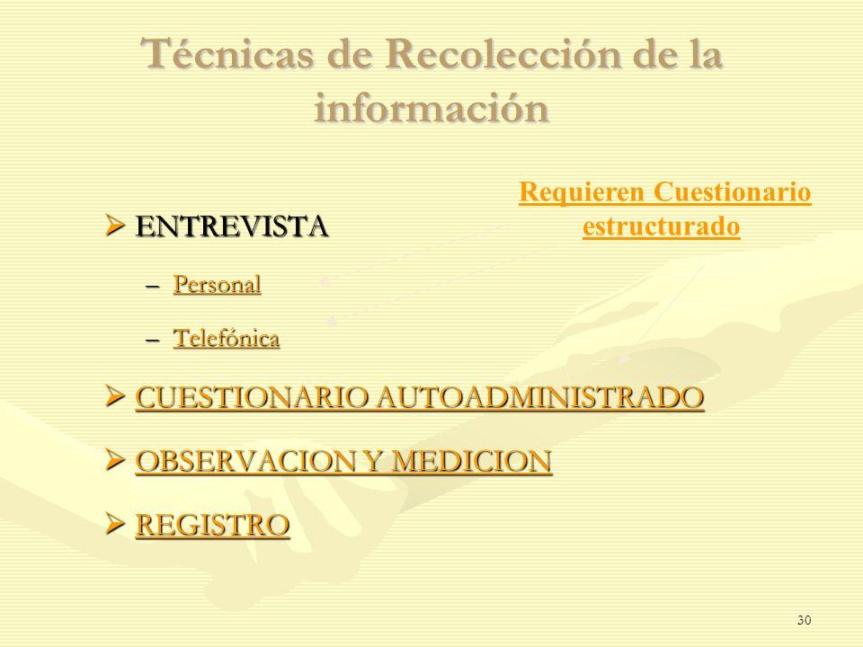 Técnicas de Recolección de la información ENTREVISTA ENTREVISTA –Personal Personal –Telefónica Telefónica CUESTIONARIO AUTOADMINISTRADO CUESTIONARIO A