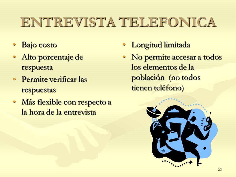 ENTREVISTA TELEFONICA Bajo costoBajo costo Alto porcentaje de respuestaAlto porcentaje de respuesta Permite verificar las respuestasPermite verificar