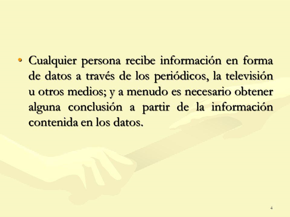 Cualquier persona recibe información en forma de datos a través de los periódicos, la televisión u otros medios; y a menudo es necesario obtener algun
