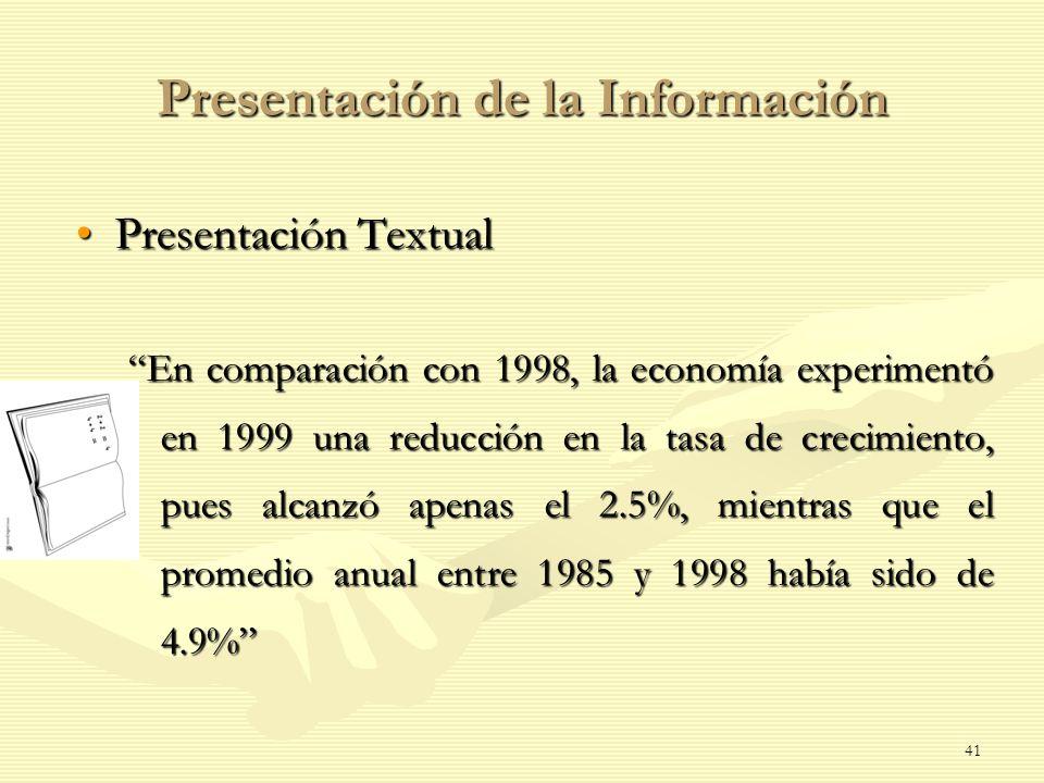 Presentación de la Información Presentación TextualPresentación Textual En comparación con 1998, la economía experimentó en 1999 una reducción en la t