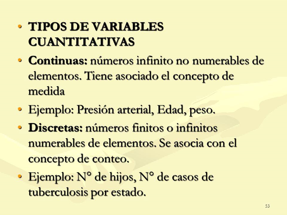 TIPOS DE VARIABLES CUANTITATIVASTIPOS DE VARIABLES CUANTITATIVAS Continuas: números infinito no numerables de elementos. Tiene asociado el concepto de
