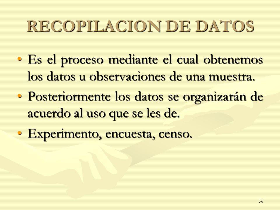 RECOPILACION DE DATOS Es el proceso mediante el cual obtenemos los datos u observaciones de una muestra.Es el proceso mediante el cual obtenemos los d