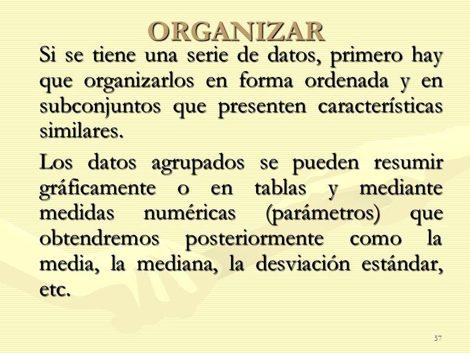 ORGANIZAR Si se tiene una serie de datos, primero hay que organizarlos en forma ordenada y en subconjuntos que presenten características similares. Si