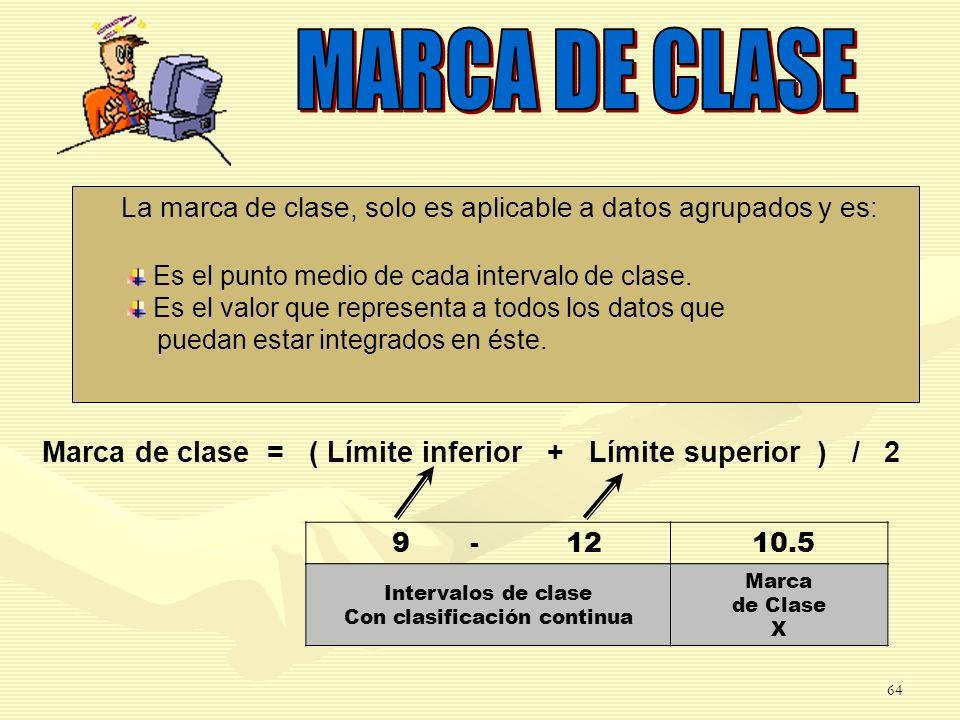 Marca de clase = ( Límite inferior + Límite superior ) / 2 9-12 10.5 Intervalos de clase Con clasificación continua Marca de Clase X La marca de clase