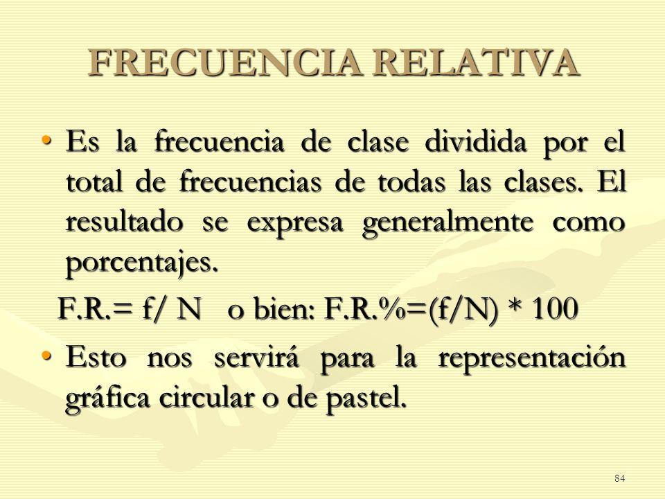 FRECUENCIA RELATIVA Es la frecuencia de clase dividida por el total de frecuencias de todas las clases. El resultado se expresa generalmente como porc