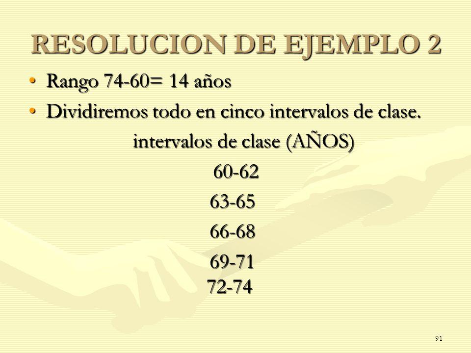 RESOLUCION DE EJEMPLO 2 Rango 74-60= 14 añosRango 74-60= 14 años Dividiremos todo en cinco intervalos de clase.Dividiremos todo en cinco intervalos de
