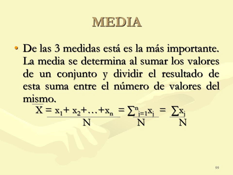 X = x 1 + x 2 +…+x n = n j=1 x j = x j N N N N N N MEDIA De las 3 medidas está es la más importante. La media se determina al sumar los valores de un